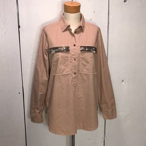 Mauve J. Crew Long Sleeve Popover/Tunic Size 4
